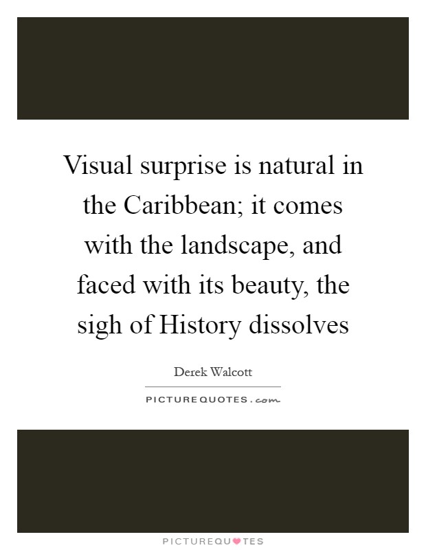 Visual surprise is natural in the Caribbean; it comes with the landscape, and faced with its beauty, the sigh of History dissolves Picture Quote #1
