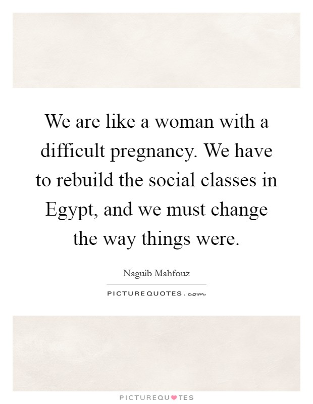 We are like a woman with a difficult pregnancy. We have to rebuild the social classes in Egypt, and we must change the way things were Picture Quote #1