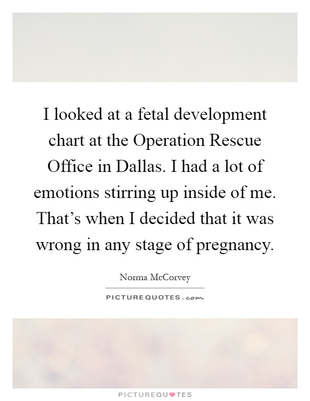 I looked at a fetal development chart at the Operation Rescue Office in Dallas. I had a lot of emotions stirring up inside of me. That's when I decided that it was wrong in any stage of pregnancy Picture Quote #1