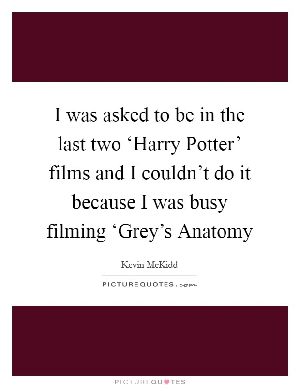 I was asked to be in the last two 'Harry Potter' films and I couldn't do it because I was busy filming 'Grey's Anatomy Picture Quote #1