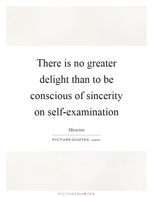 There is no greater delight than to be conscious of sincerity on self-examination Picture Quote #1
