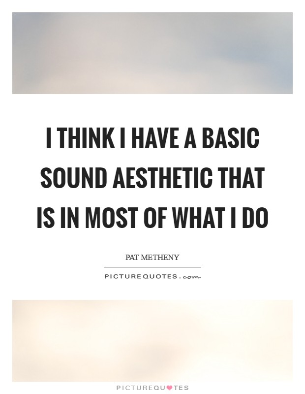 I think I have a basic sound aesthetic that is in most of what I do Picture Quote #1