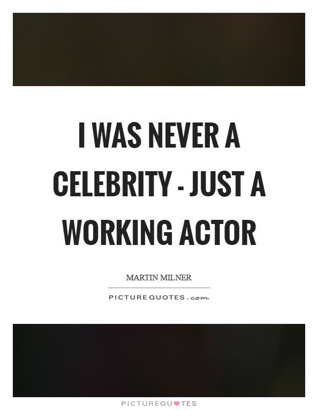 I was never a celebrity - just a working actor Picture Quote #1