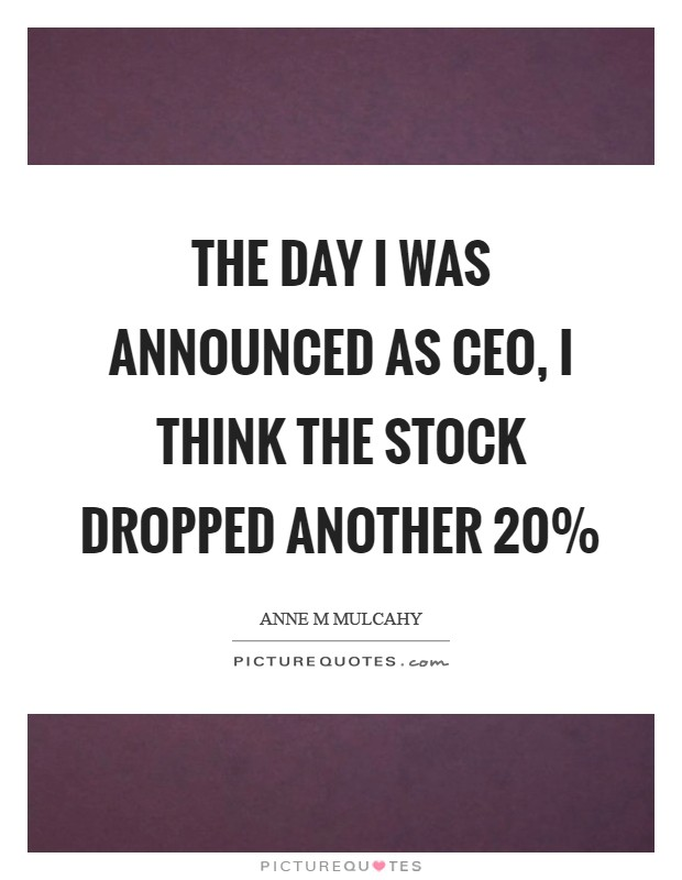 The day I was announced as CEO, I think the stock dropped another 20% Picture Quote #1