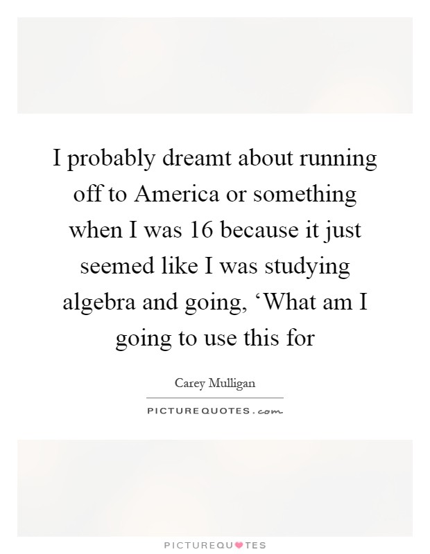 I probably dreamt about running off to America or something when I was 16 because it just seemed like I was studying algebra and going, 'What am I going to use this for Picture Quote #1