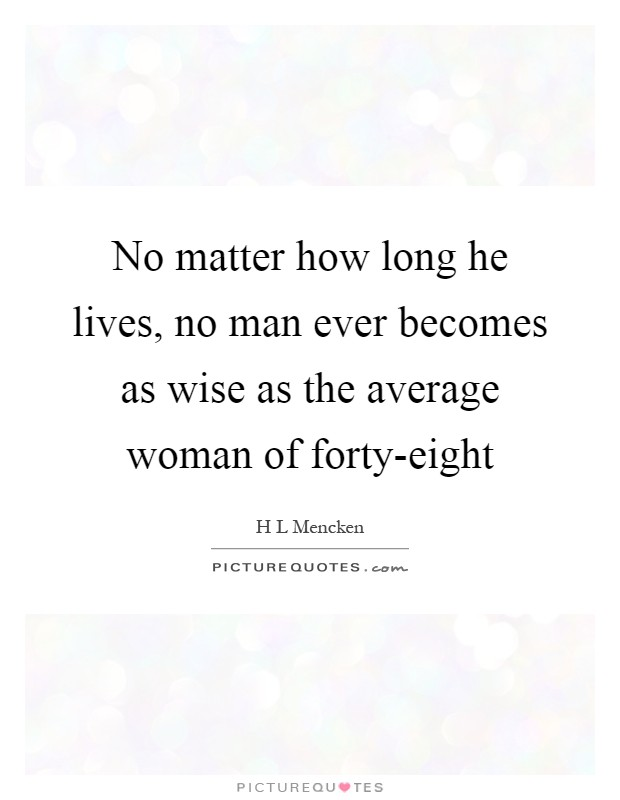 No matter how long he lives, no man ever becomes as wise as the average woman of forty-eight Picture Quote #1