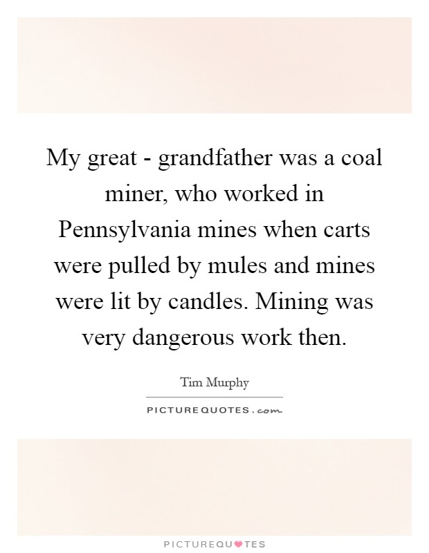 My great - grandfather was a coal miner, who worked in Pennsylvania mines when carts were pulled by mules and mines were lit by candles. Mining was very dangerous work then Picture Quote #1