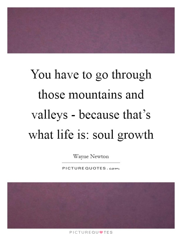 You have to go through those mountains and valleys - because that's what life is: soul growth Picture Quote #1