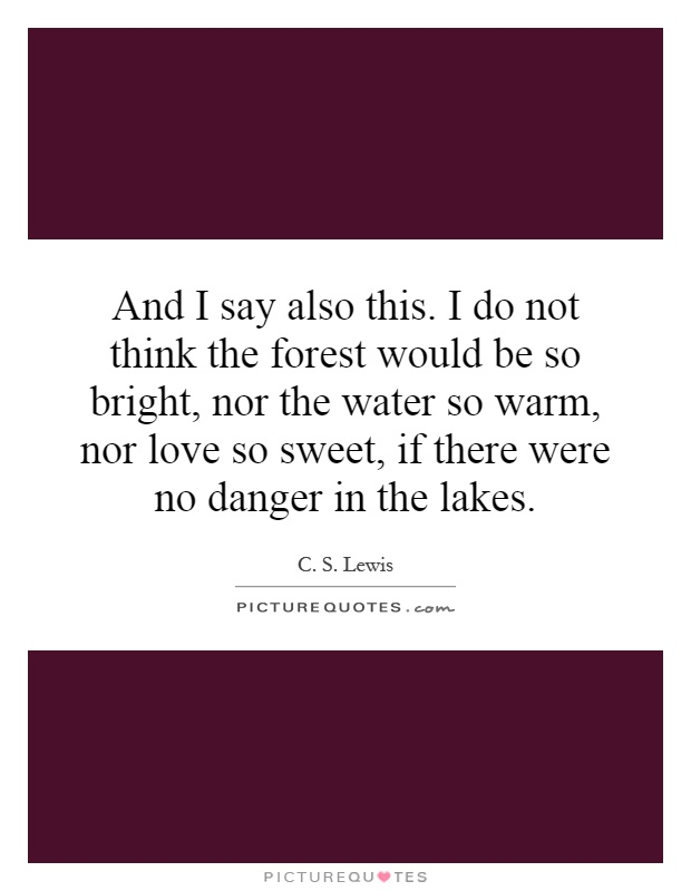 And I say also this. I do not think the forest would be so bright, nor the water so warm, nor love so sweet, if there were no danger in the lakes Picture Quote #1