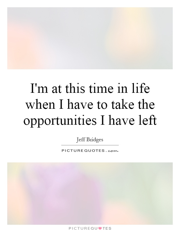 I'm at this time in life when I have to take the opportunities I have left Picture Quote #1