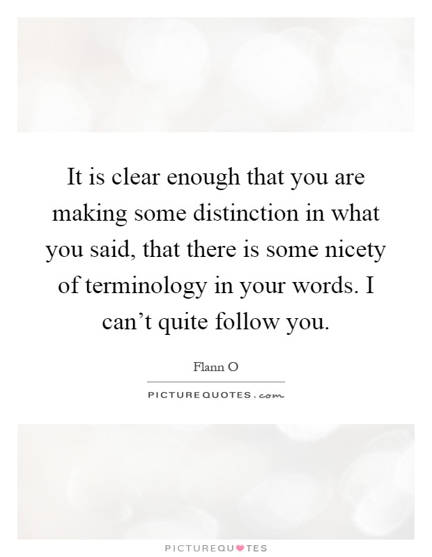 It is clear enough that you are making some distinction in what you said, that there is some nicety of terminology in your words. I can't quite follow you Picture Quote #1