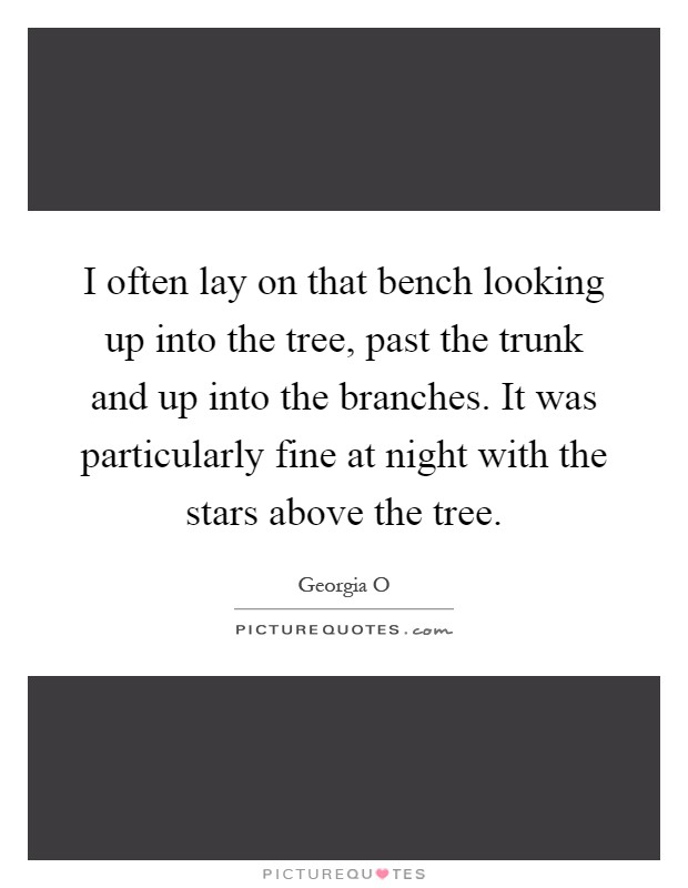 I often lay on that bench looking up into the tree, past the trunk and up into the branches. It was particularly fine at night with the stars above the tree Picture Quote #1
