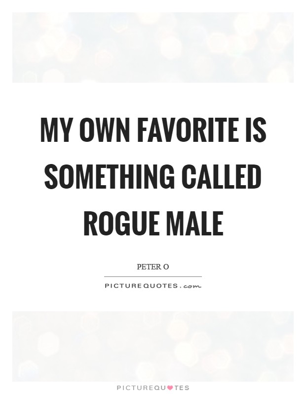 My own favorite is something called Rogue Male Picture Quote #1