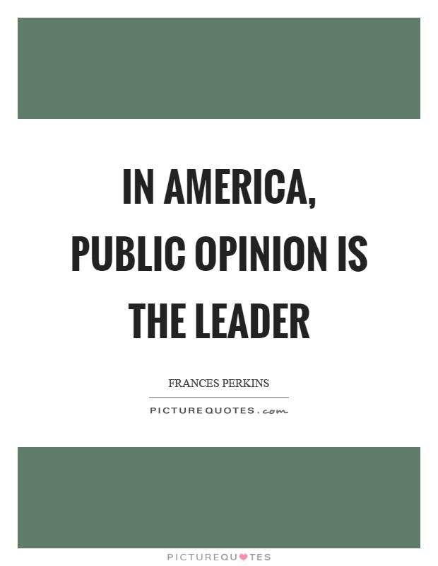 In America, public opinion is the leader Picture Quote #1