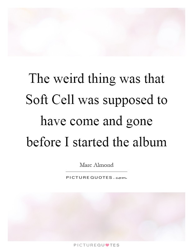 The weird thing was that Soft Cell was supposed to have come and gone before I started the album Picture Quote #1