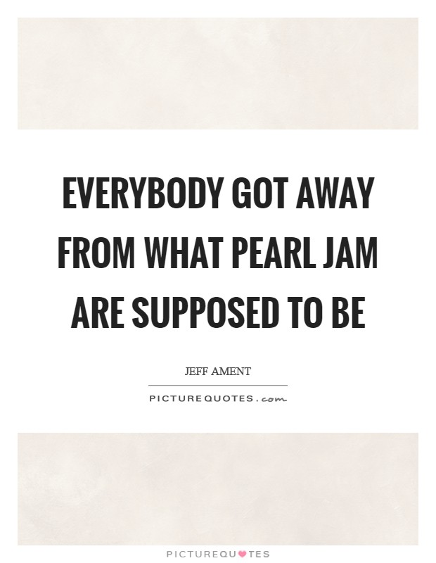 Everybody got away from what Pearl Jam are supposed to be ...