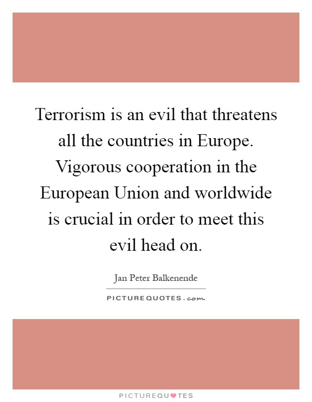 Terrorism is an evil that threatens all the countries in Europe. Vigorous cooperation in the European Union and worldwide is crucial in order to meet this evil head on Picture Quote #1