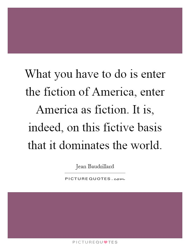 baudrillard america essay All is not well in the world of the capitalist code in the latest essay of his series on jean baudrillard, andrew robinson explores the french thinker's account of.