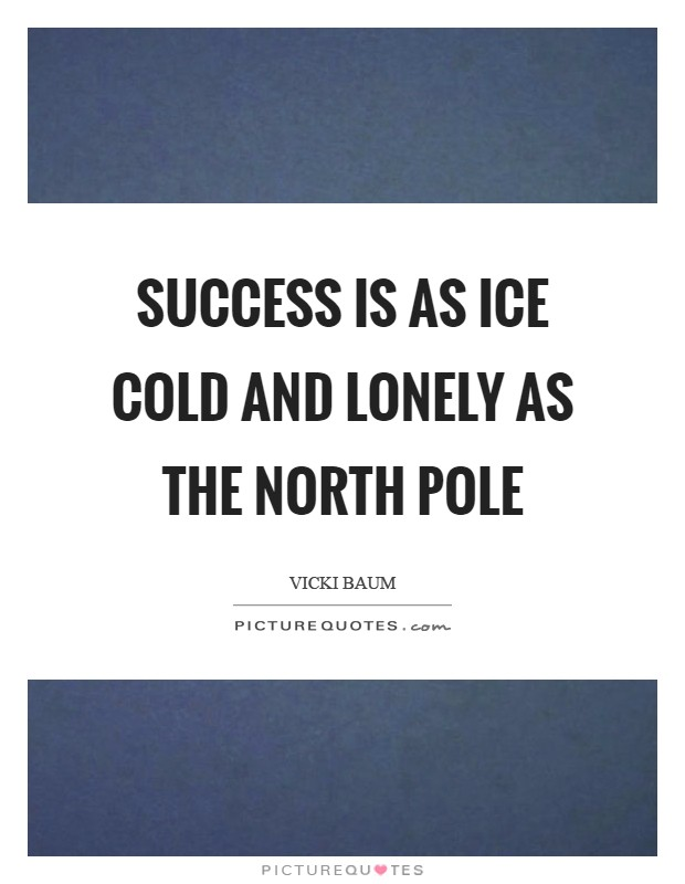 Success is as ice cold and lonely as the North Pole Picture Quote #1