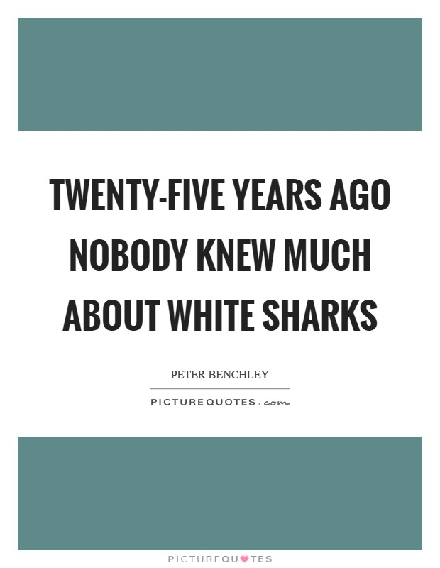 Twenty-five years ago nobody knew much about white sharks Picture Quote #1