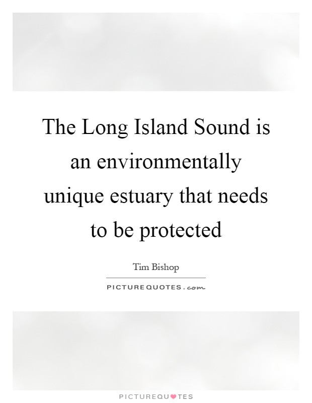 The Long Island Sound is an environmentally unique estuary that needs to be protected Picture Quote #1