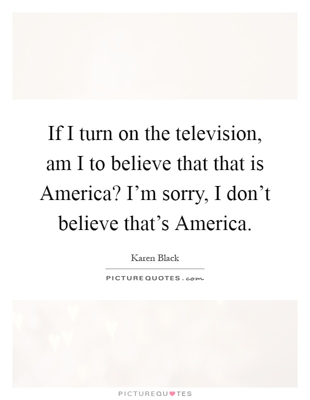 If I turn on the television, am I to believe that that is America? I'm sorry, I don't believe that's America Picture Quote #1