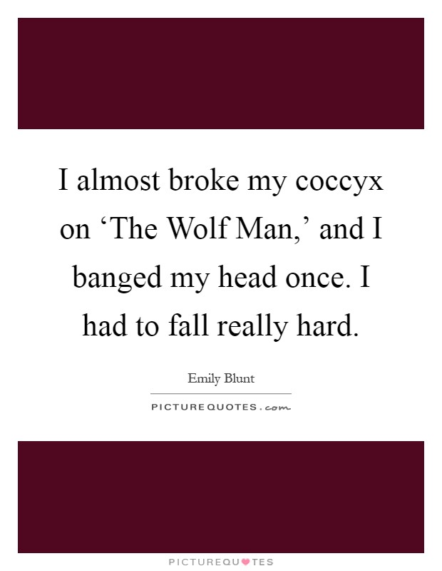 I almost broke my coccyx on 'The Wolf Man,' and I banged my head once. I had to fall really hard Picture Quote #1