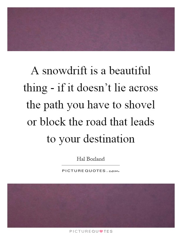 A snowdrift is a beautiful thing - if it doesn't lie across the path you have to shovel or block the road that leads to your destination Picture Quote #1