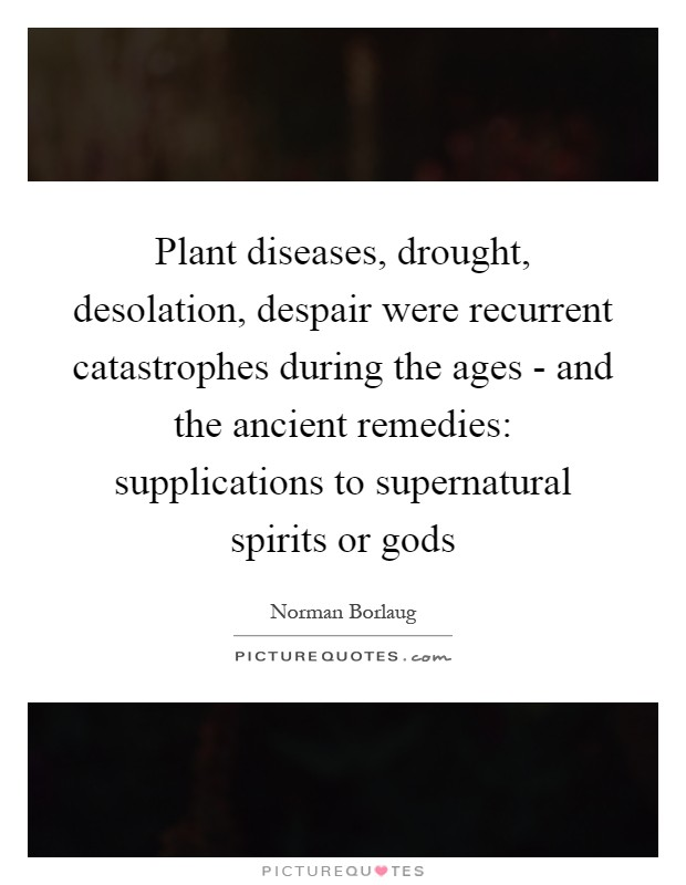 Plant diseases, drought, desolation, despair were recurrent catastrophes during the ages - and the ancient remedies: supplications to supernatural spirits or gods Picture Quote #1