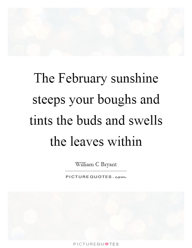 The February sunshine steeps your boughs and tints the buds and swells the leaves within Picture Quote #1