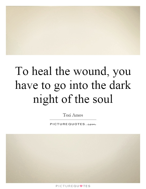 To heal the wound, you have to go into the dark night of the soul Picture Quote #1