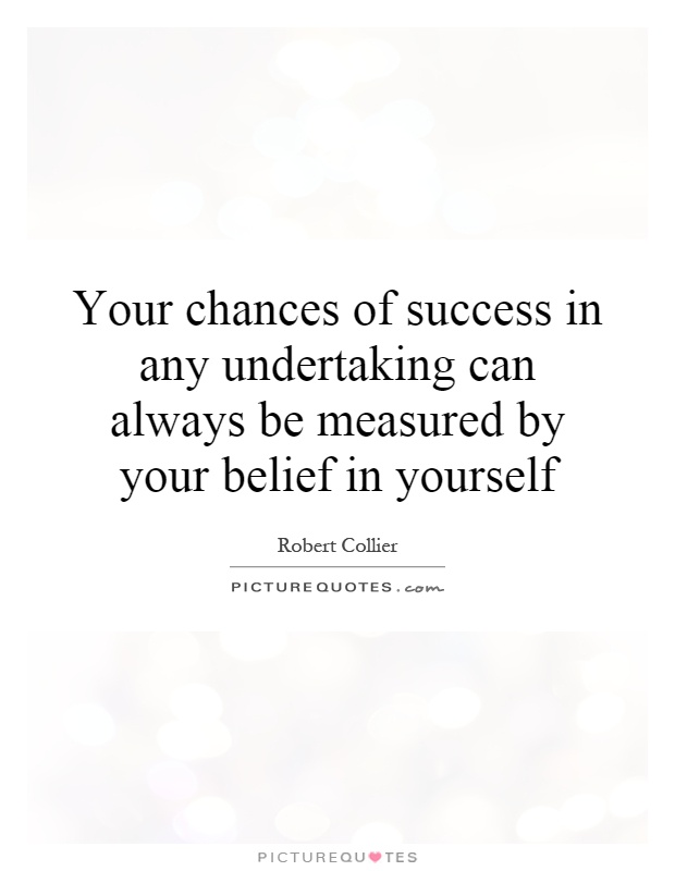 Your Chances Of Success In Any Undertaking Can Always Be Measured By Your  Belief In Yourself
