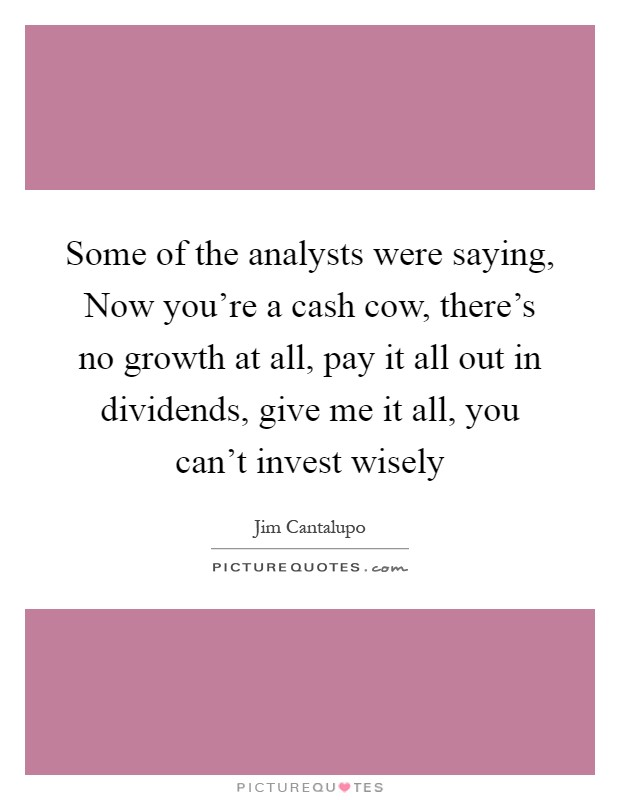 Some of the analysts were saying, Now you're a cash cow, there's no growth at all, pay it all out in dividends, give me it all, you can't invest wisely Picture Quote #1