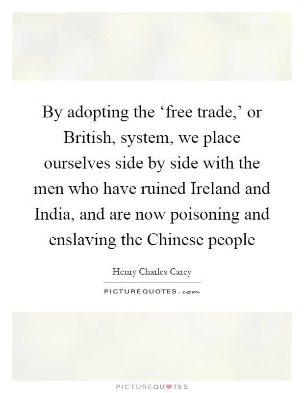 By adopting the 'free trade,' or British, system, we place ourselves side by side with the men who have ruined Ireland and India, and are now poisoning and enslaving the Chinese people Picture Quote #1