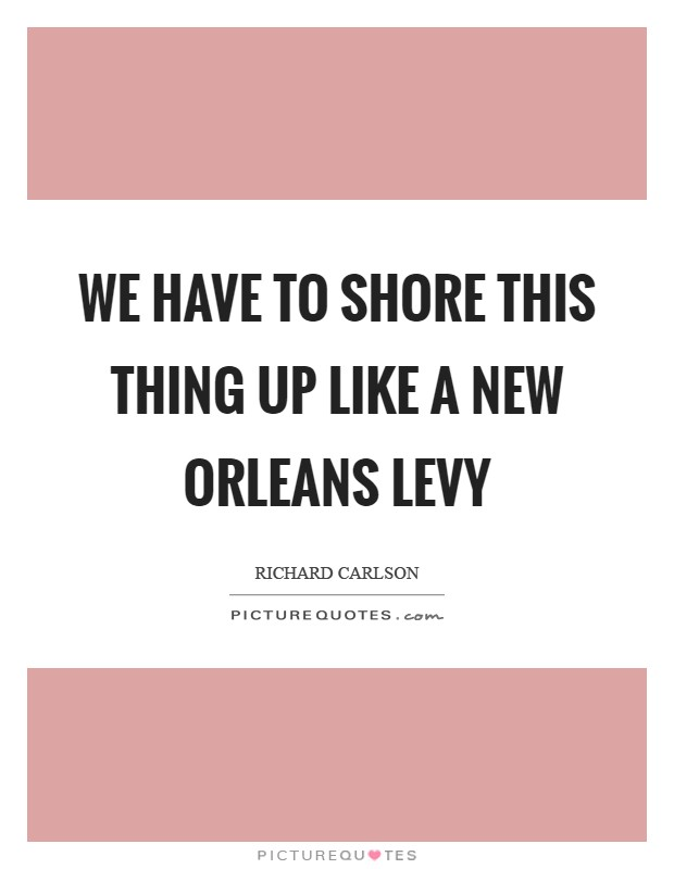 We have to shore this thing up like a New Orleans levy Picture Quote #1