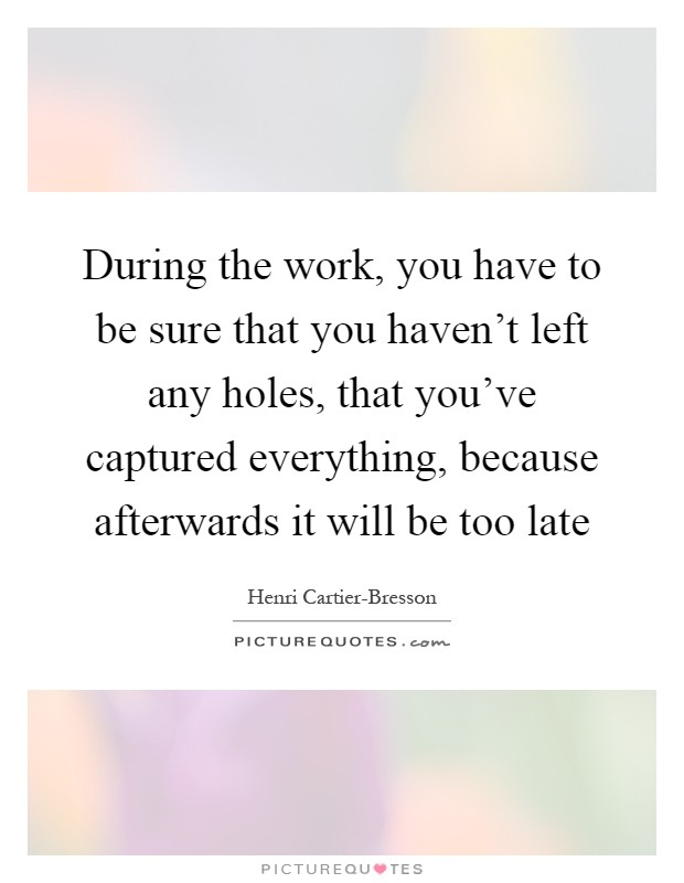 During the work, you have to be sure that you haven't left any holes, that you've captured everything, because afterwards it will be too late Picture Quote #1
