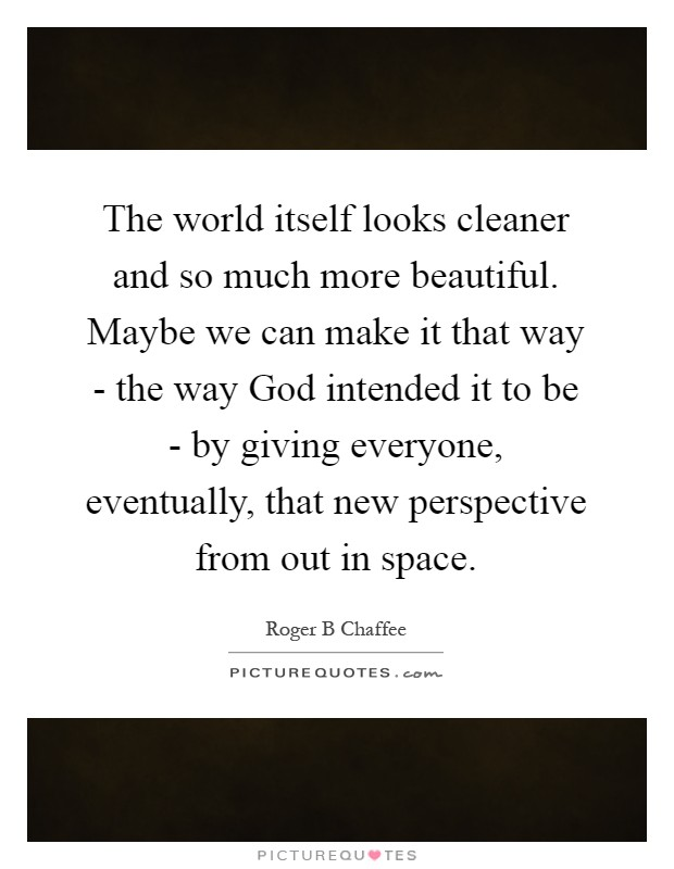 The world itself looks cleaner and so much more beautiful. Maybe we can make it that way - the way God intended it to be - by giving everyone, eventually, that new perspective from out in space Picture Quote #1