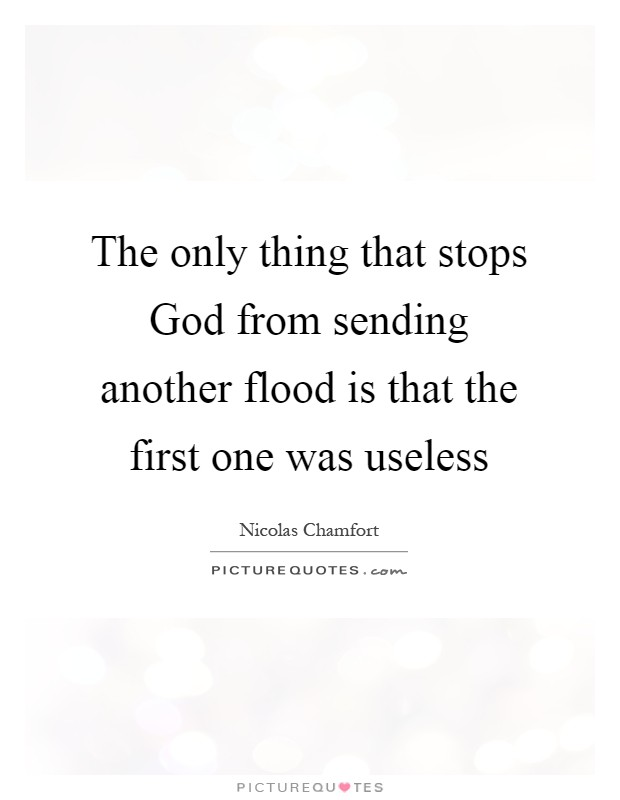 The only thing that stops God from sending another flood is that the first one was useless Picture Quote #1