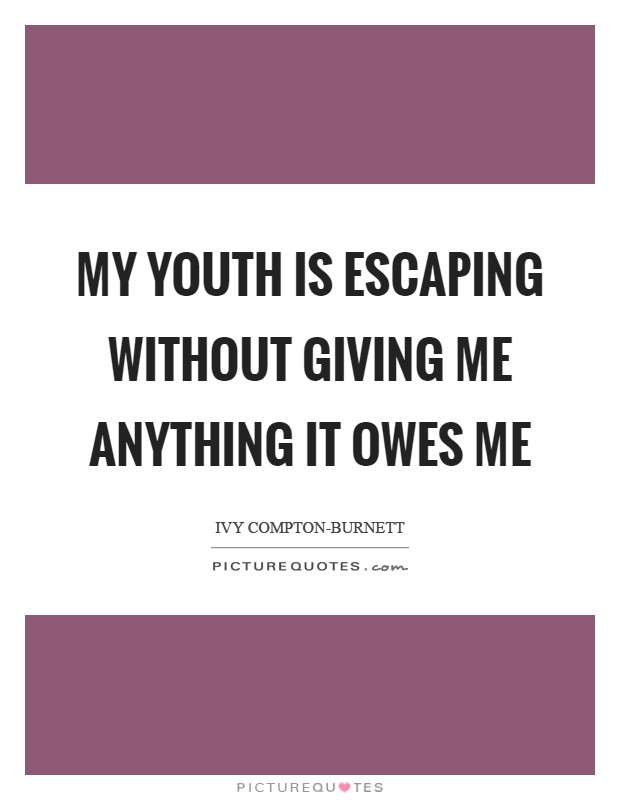My youth is escaping without giving me anything it owes me Picture Quote #1