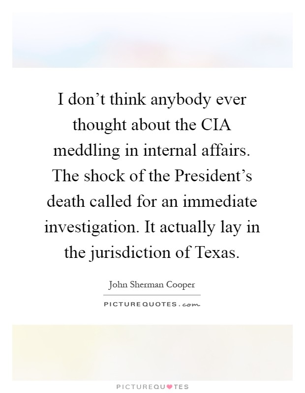 I don't think anybody ever thought about the CIA meddling in internal affairs. The shock of the President's death called for an immediate investigation. It actually lay in the jurisdiction of Texas Picture Quote #1