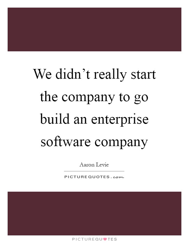 We didn't really start the company to go build an enterprise software company Picture Quote #1