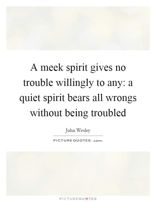 A meek spirit gives no trouble willingly to any: a quiet spirit bears all wrongs without being troubled Picture Quote #1