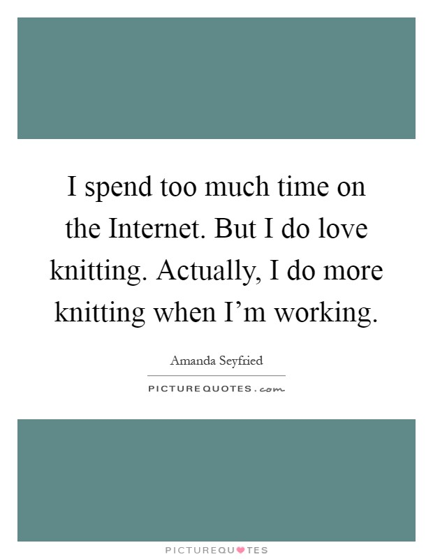 I spend too much time on the Internet. But I do love knitting. Actually, I do more knitting when I'm working Picture Quote #1