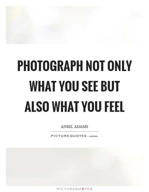 Photograph not only what you see but also what you feel Picture Quote #1