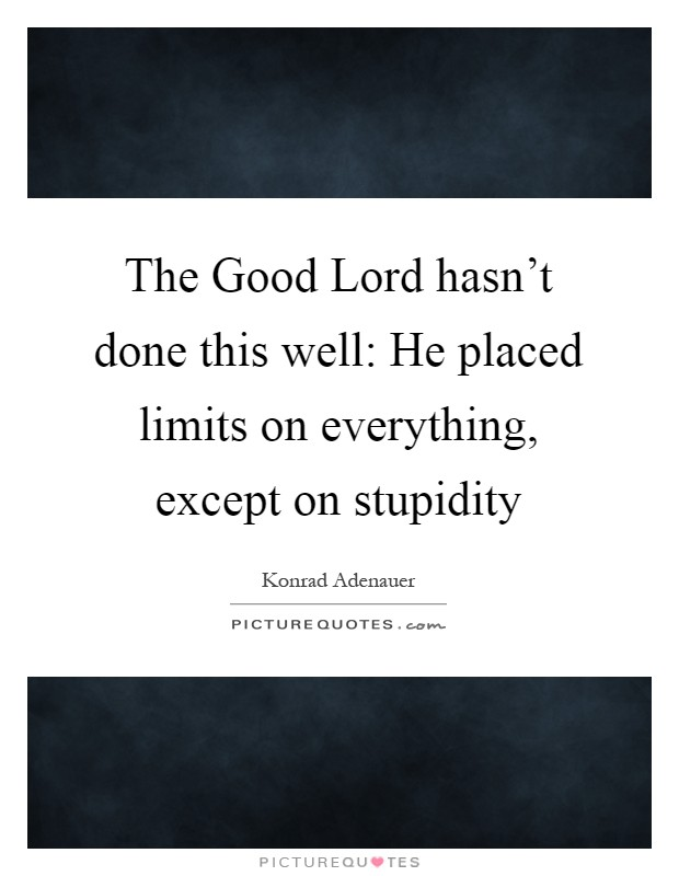 The Good Lord hasn't done this well: He placed limits on everything, except on stupidity Picture Quote #1