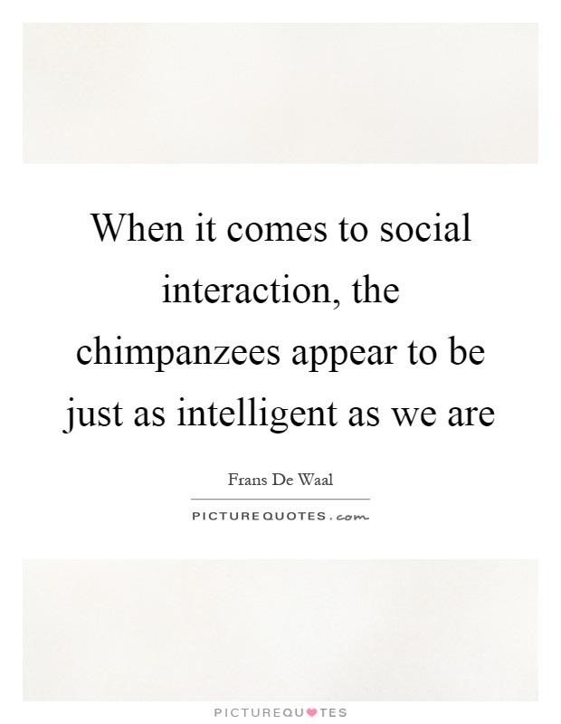 When it comes to social interaction, the chimpanzees appear to be just as intelligent as we are Picture Quote #1