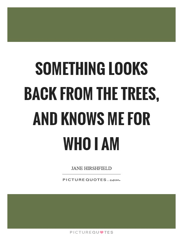 Something looks back from the trees, and knows me for who I am Picture Quote #1