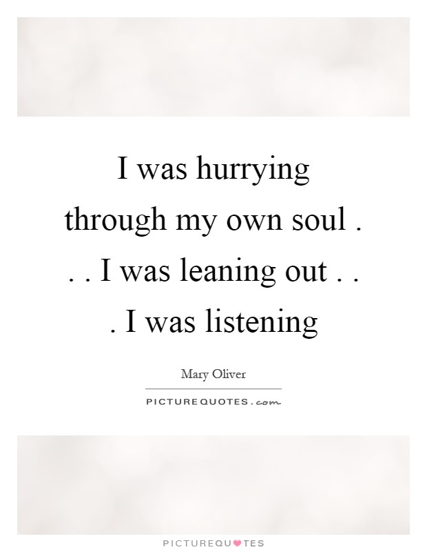 I was hurrying through my own soul . . . I was leaning out . . . I was listening Picture Quote #1