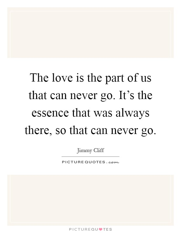 The love is the part of us that can never go. It's the essence that was always there, so that can never go Picture Quote #1