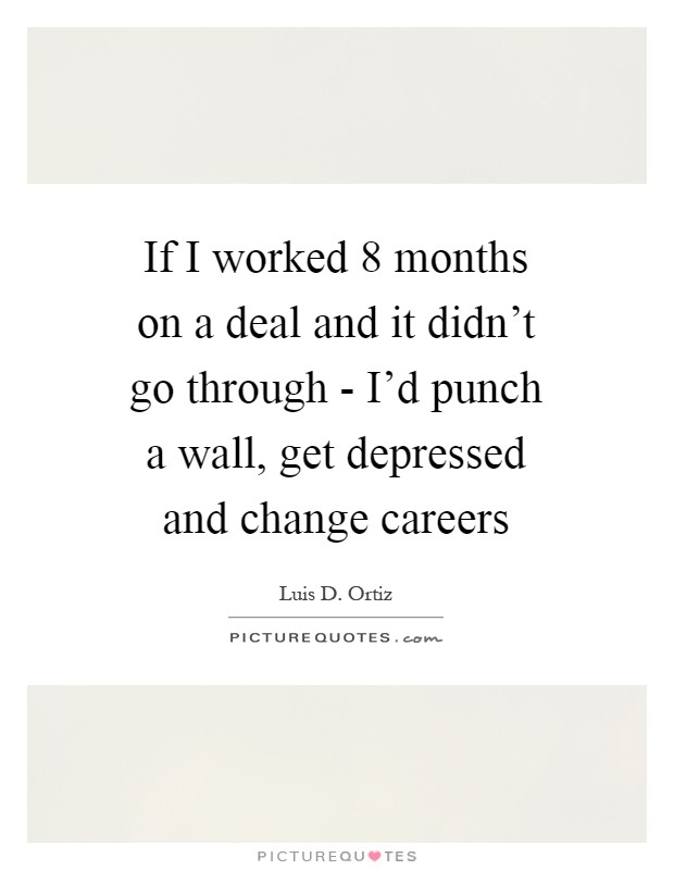 If I worked 8 months on a deal and it didn't go through - I'd punch a wall, get depressed and change careers Picture Quote #1